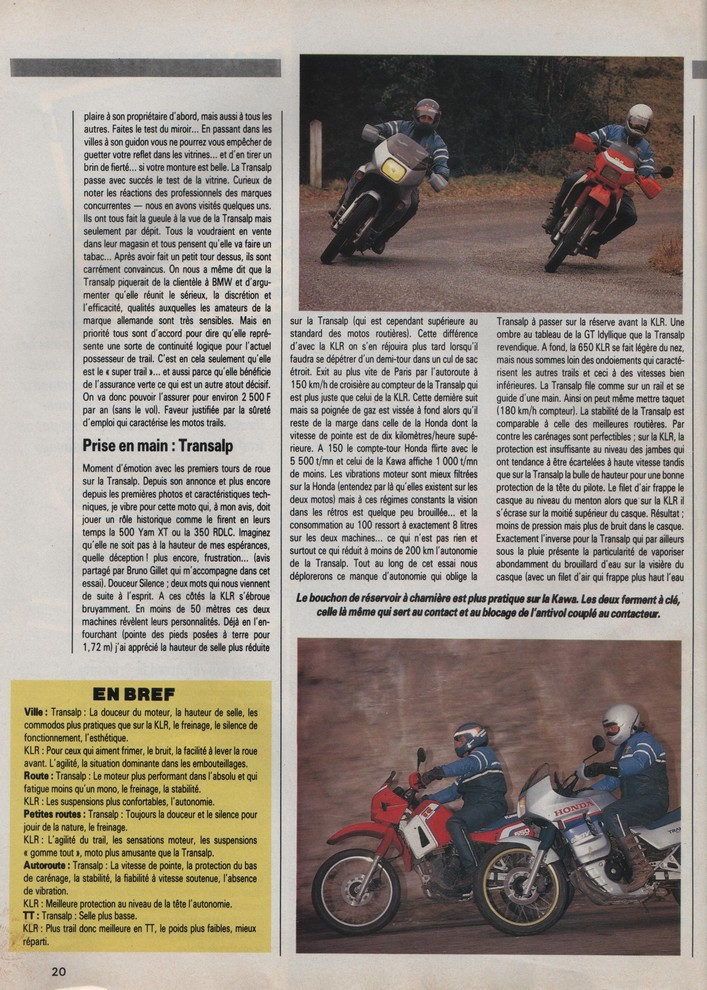 Honda Transalp Moto Journal 5 mars 1987