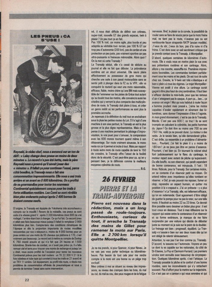 Honda Transalp Moto Journal 12 mars 1987
