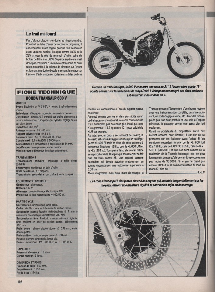 Honda Transalp Moto Journal 2 octobre 1986