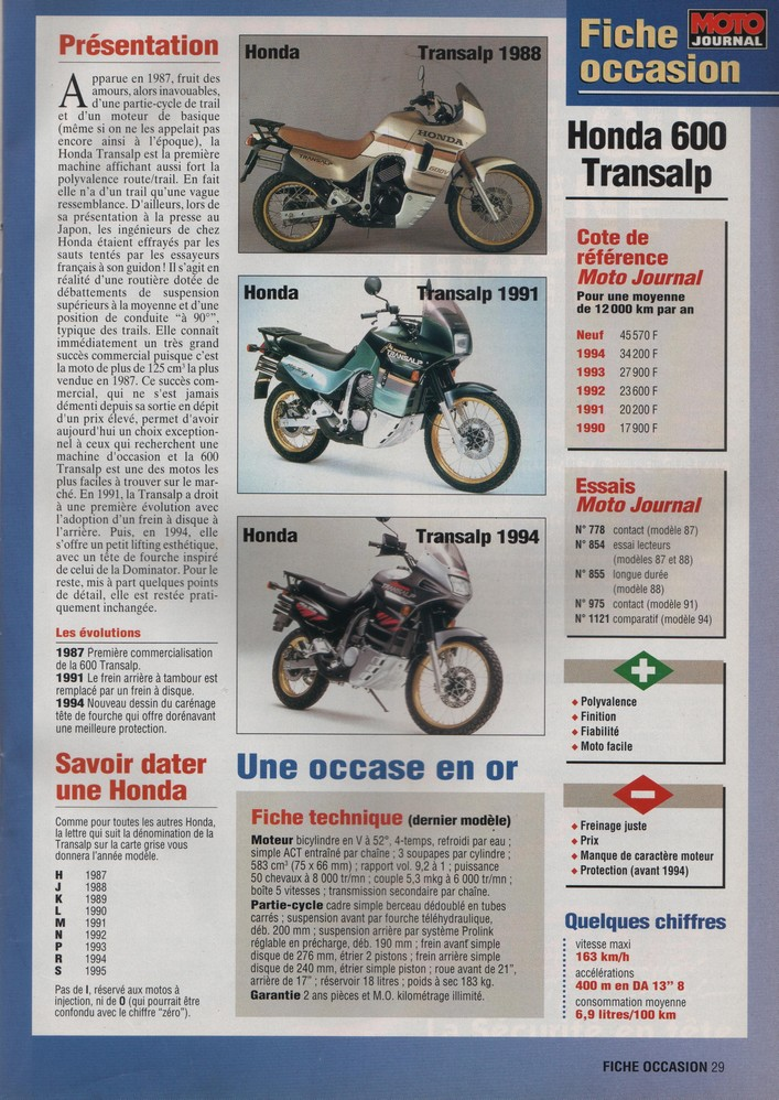 Honda Transalp Moto Journal 27 avril 1995