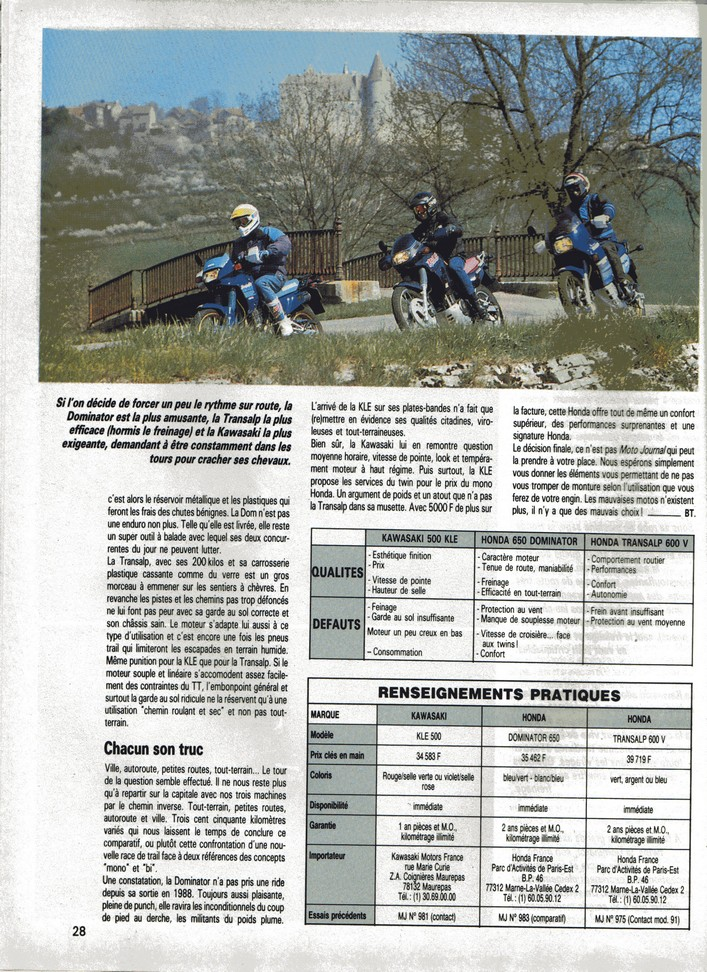 Honda Transalp Moto Journal 2 mai 1991