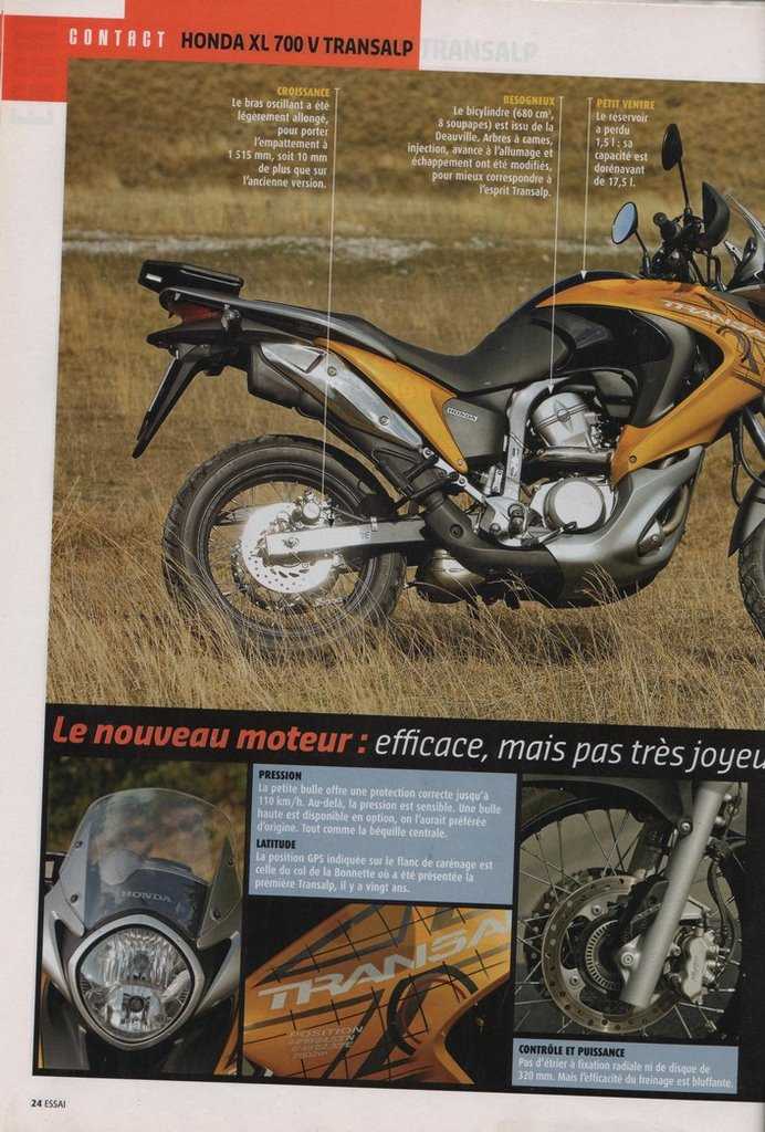 Honda 700 Transalp Moto Journal 25 octobre 2007