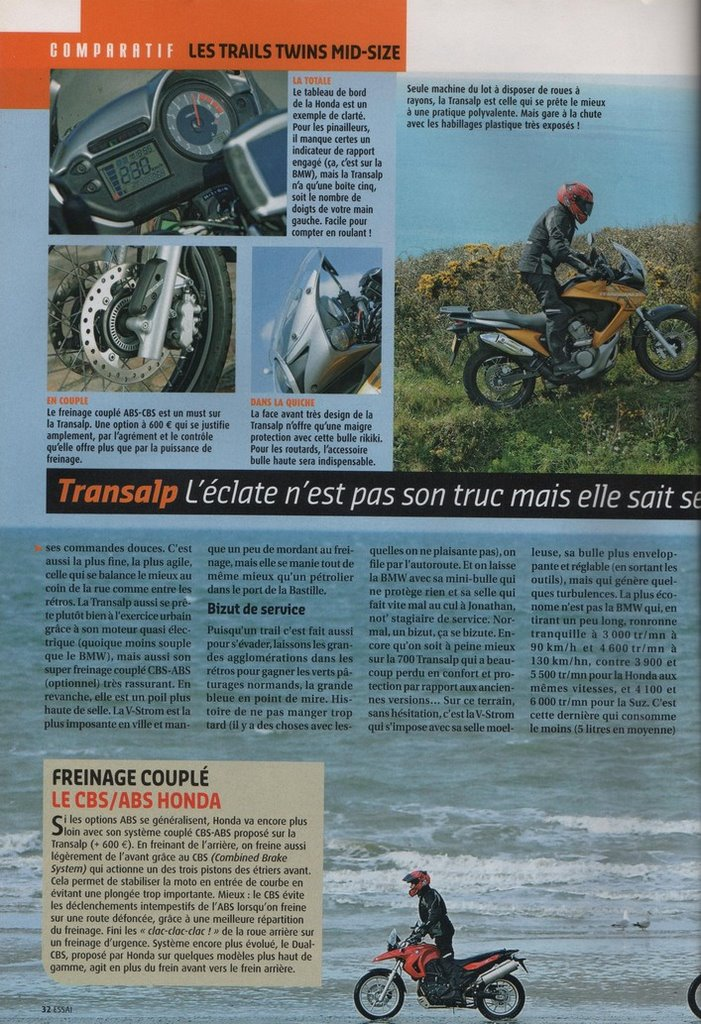 Honda Transalp 700 Moto Journal 24 avril 2008
