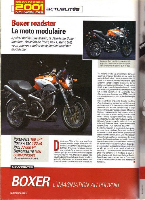 Voxan Boxer Moto Journal 27/09/2001