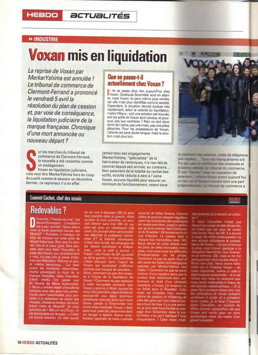 Voxan Moto Journal 11 avril 2002