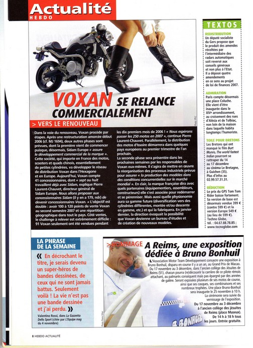 Voxan Moto Journal 16 novembre 2006