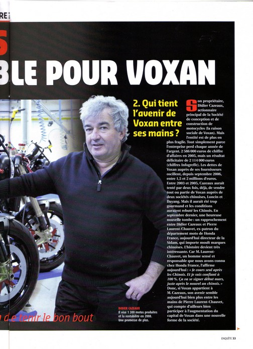 Voxan Moto Journal 1er mars 2007