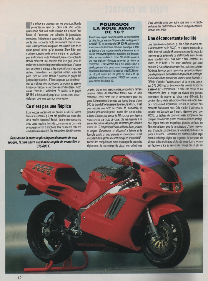 Honda NR 750 Moto Journal 7 novembre 1991