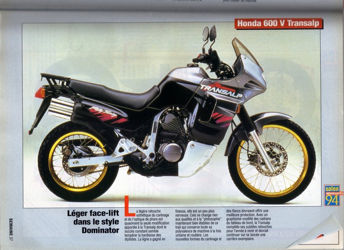 Honda Transalp Moto Journal 23 septembre 1993